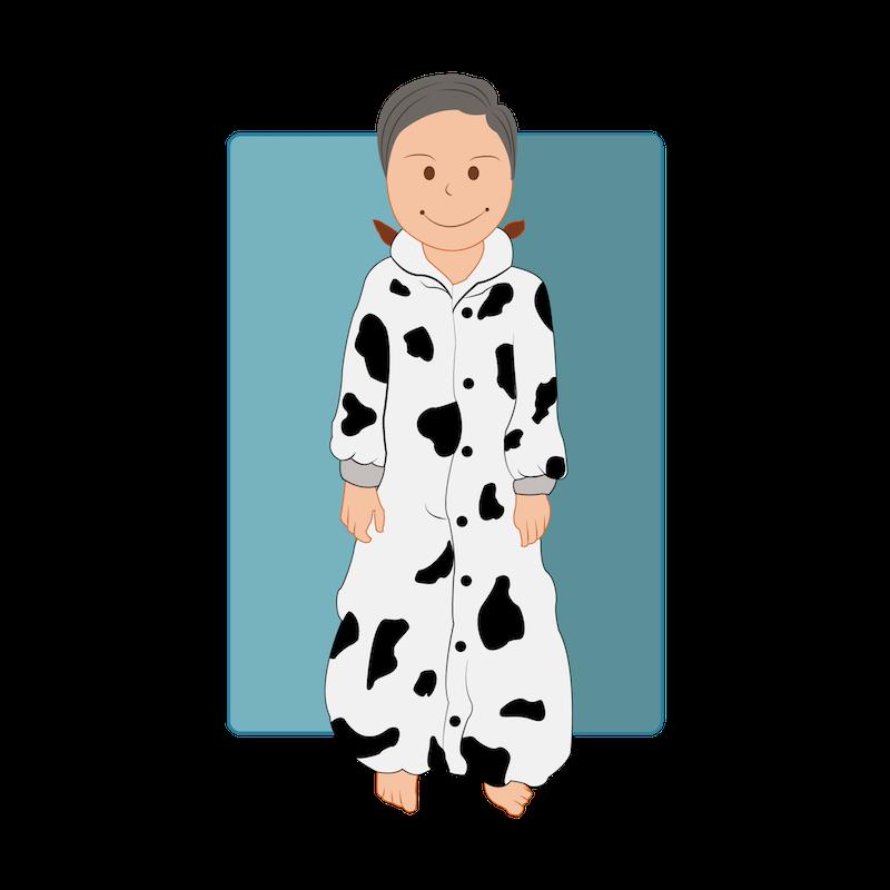 Une grenouillère pyjama en forme de vache