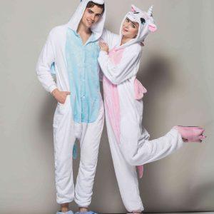 Pyjamas Licorne bleu et rose homme et femme de face