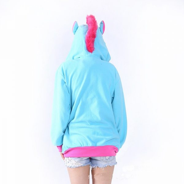 Sweat Licorne bleu dos
