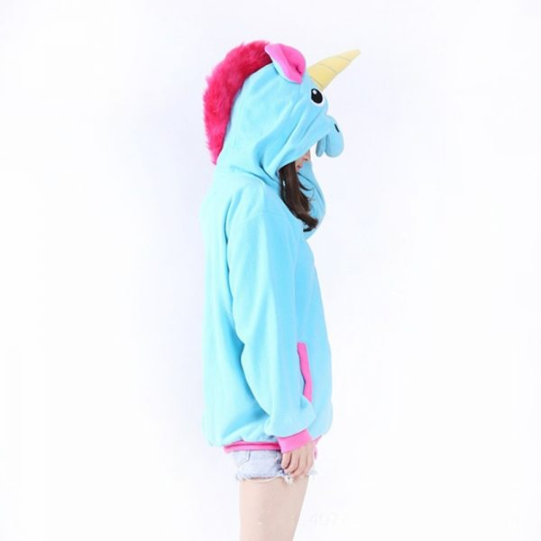 Sweat Licorne bleu profil