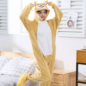 Grenouillère Pyjama Chien marron clair